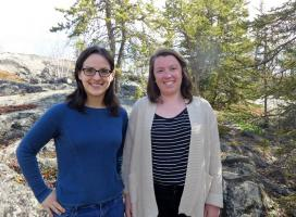 Laura Meinert, WRRB Wildlife Management Biologist, and Aimee Guile, WRRB Conservation Biologist (Susan Beaumont, WRRB)