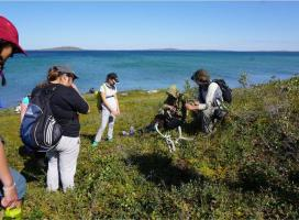TSSRAP summer student Allison Wetrade exploring the Barren-lands, along with Tundra Science and Culture Camp students Photo:  GNWT / K.Clark, ENR