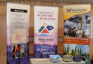 During the community supper in Wekweètì, the WRRB and WLWB gave away some swag and drew for prizes to give out to community members. Photo Credit: Shalyn Norrish, WRRB & WLWB.